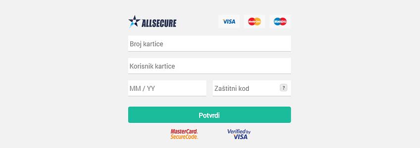"""Forma za unos podataka sa kartice """"ugrađena"""" na vaš sajt"""